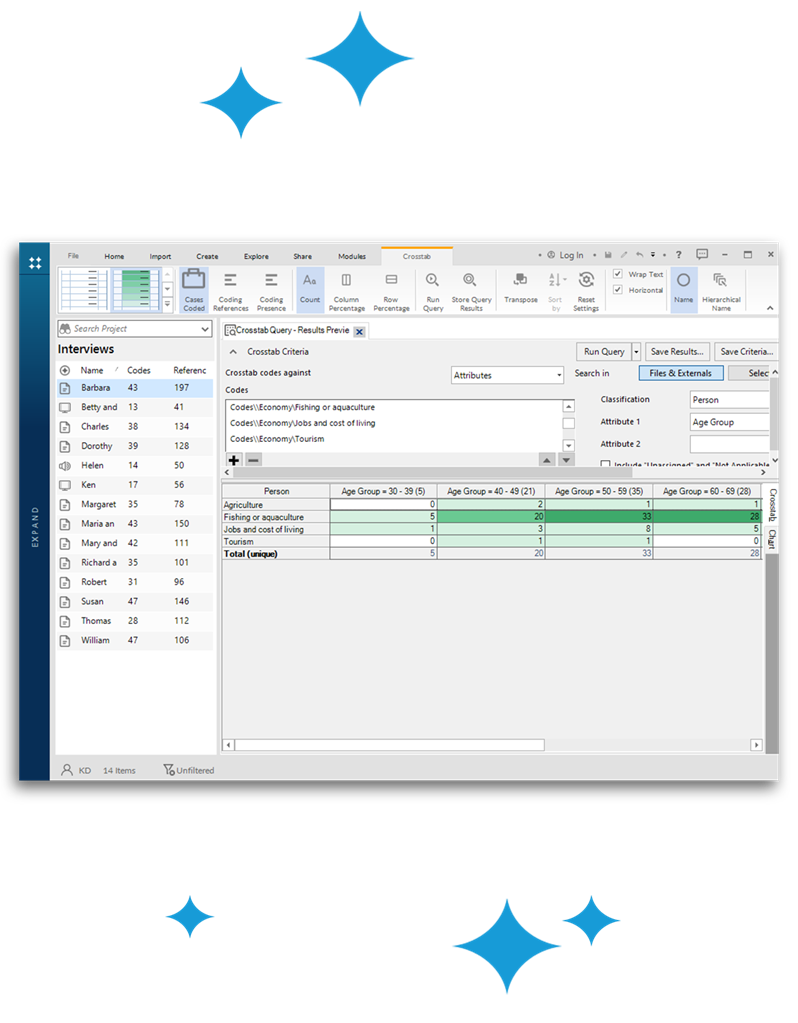 NVivo home deeper insights cross tab
